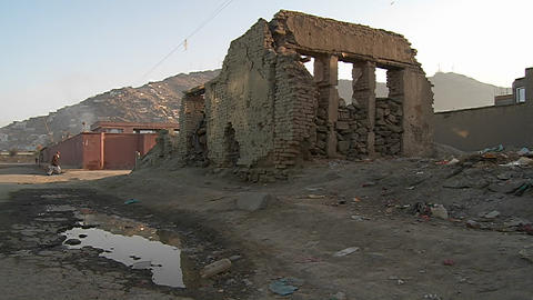 A bombed out neighborhood in Kabul, Afghanistan Stock Video Footage