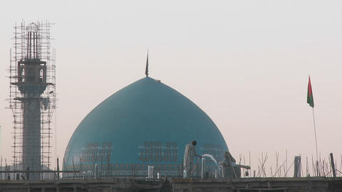 A mosque under construction in Kabul, Afghanistan Footage