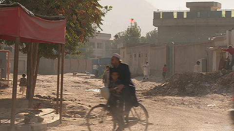Pedestrians on street in Kabul, Afghanistan Stock Video Footage
