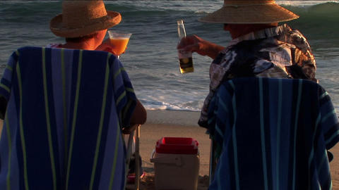 An elderly couple makes a toast to the ocean waves from their beach chairs Footage