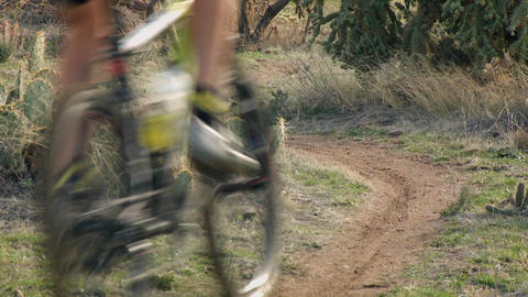 A cyclist rides down an off road trail Stock Video Footage