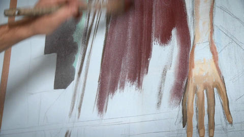 An artist works on a painting Stock Video Footage