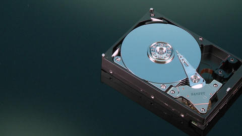 A closeup zoom image of a hard drive for a computer is displayed Footage