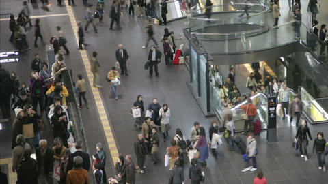 Commuters in Kyoto's JR Station, Japan Stock Video Footage