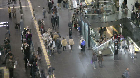Commuters in Kyoto's JR Station, Japan Footage