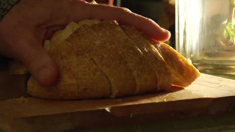 Hands gather slices of bread Stock Video Footage