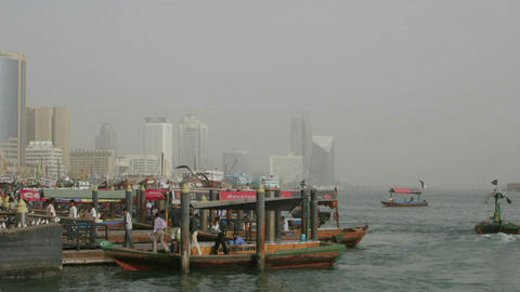Boats come and go in this time lapse shot at the harbor... Stock Video Footage