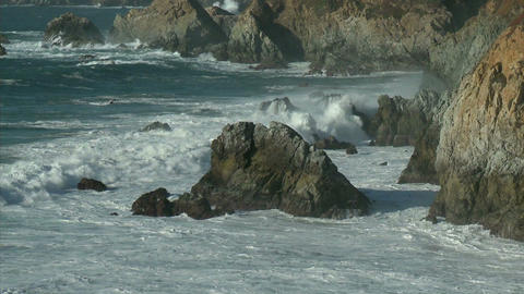 Surf, powered by a winter storm, rolls into the Big Sur... Stock Video Footage