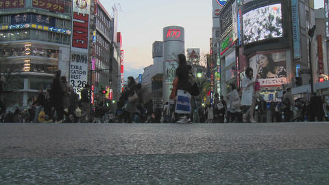 Pedestrian crossing during rush hour near Shibuya... Stock Video Footage