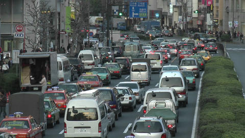 Rush hour traffic jam in Shibuya, Tokyo, Japan Stock Video Footage