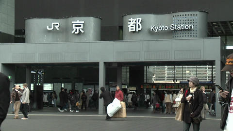 Commuters at the entrance to the JR Station, Kyoto, Japan, Live Action