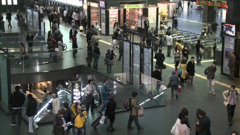 Commuters in the JR Station in Kyoto, Japan Stock Video Footage