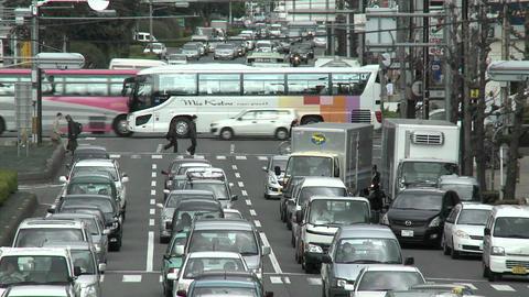 Rush hour traffic jam in Kyoto, Japan Stock Video Footage