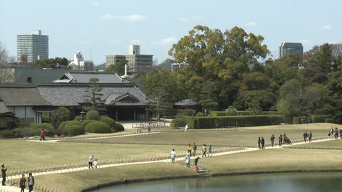 Koraku-en Park, said to be one of the country's most beautiful parks, Okayama, Japan Footage