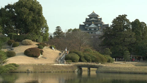 Koraku-en Park, said to be one of the country's most beautiful parks and Okayama Castle, Okayama, Ja Footage