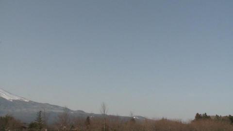 Pan across Mt. Fuji from Lake Kawaguchi, Japan Stock Video Footage