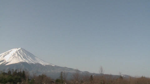 Pan across Mt. Fuji from Lake Kawaguchi, Japan Footage