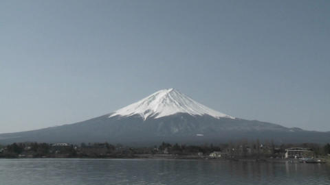 Move in on Mt. Fuji from Lake Kawaguchi, Japan Footage