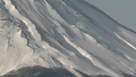 Pan up the slope of Mt. Fuji, Japan Stock Video Footage