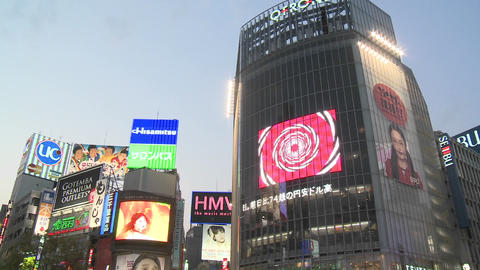 Vertical pan during rush hour in Shibuya, Tokyo, Japan Stock Video Footage