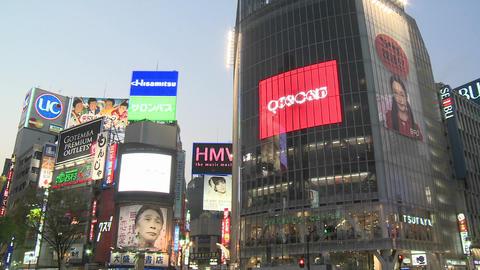 Vertical pan during rush hour in Shibuya, Tokyo, Japan Footage