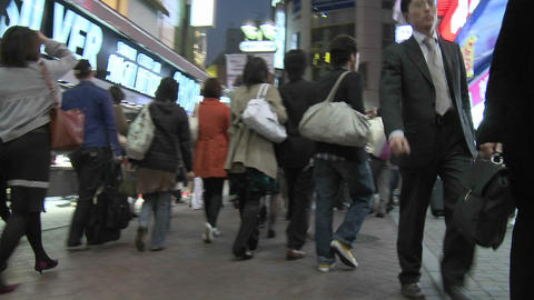 Time lapse of rush hour traffic and pedestrians in Shibuya, Tokyo, Japan Footage