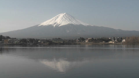 Mt. Fuji reflected in Lake Kawaguchi, Japan Stock Video Footage