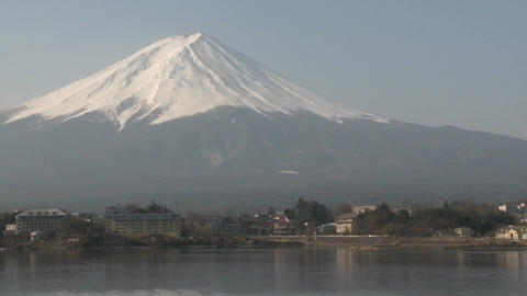Mt. Fuji reflected in Lake Kawaguchi, Japan Footage