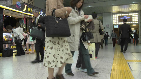 A walk through the Ueno station in Tokyo, Japan Stock Video Footage