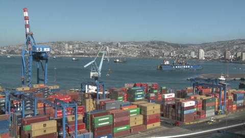 Pan across the container yard at the port of Valparaiso,... Stock Video Footage
