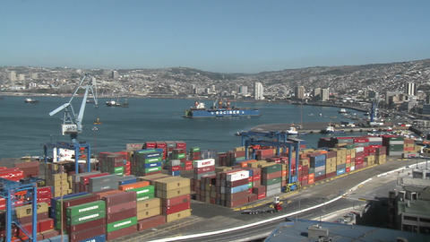 Pan across the container yard at the port of Valparaiso, Chile Footage