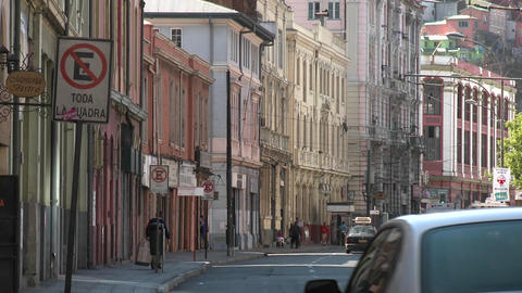 Automobile traffic on an old city street in Valparaiso,... Stock Video Footage