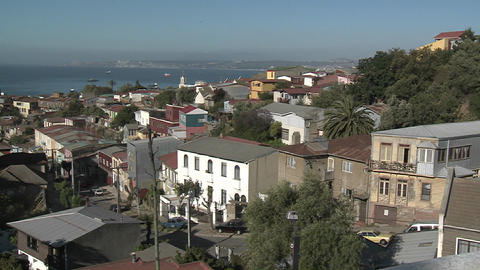 A colorful neighborhood overlooking the harbor at... Stock Video Footage