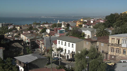 A colorful neighborhood overlooking the harbor at Valparaiso, Chile Footage