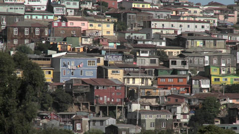 Pan across the colorful houses of Valparaiso, Chile Stock Video Footage
