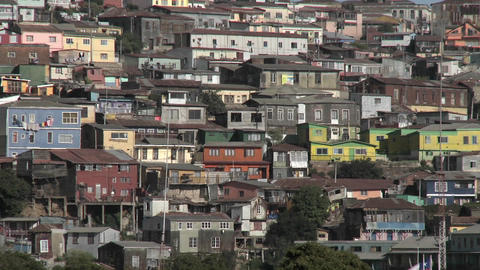 Pan across the colorful houses of Valparaiso, Chile Footage