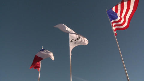The flags of the United States and Chile flying at Vina... Stock Video Footage