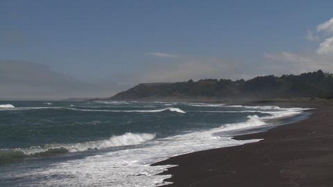 Surf on the beach at Buchepureo, a tranquil village that is popular with surfers, Chile Live Action