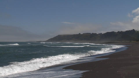 Surf on the beach at Buchepureo, a tranquil village that... Stock Video Footage