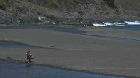 A Chilean horse and rider train on the beach at... Stock Video Footage