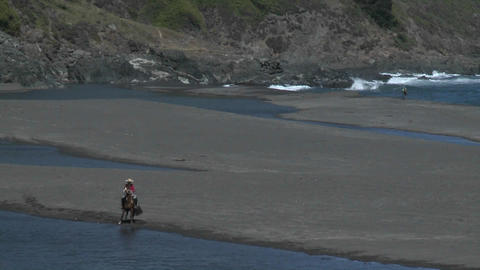 A Chilean horse and rider train on the beach at Buchepureo, Chile Footage
