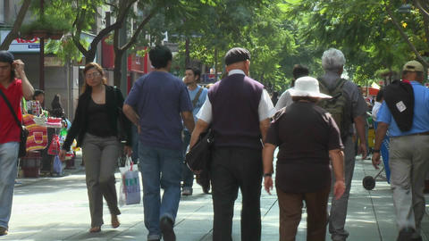 Foot traffic on Paseo Ahumada, a pedestrian street in... Stock Video Footage