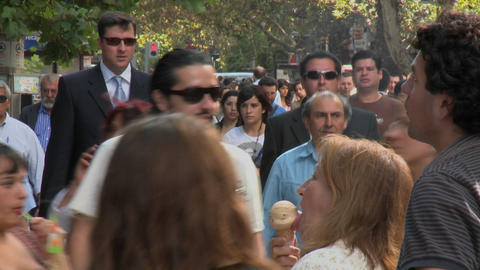 Foot traffic on Paseo Ahumada , a pedestrian street in... Stock Video Footage
