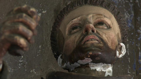 Rack focus on a statue in the Iglesia de San Franciso and... Stock Video Footage
