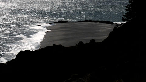 Vertical pan over the ocean near Curanipe, Chile Stock Video Footage