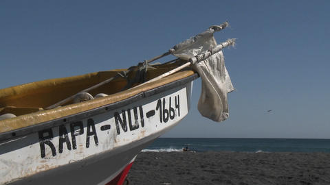 A fishing boat on the beach at Curanipe, Chile Footage