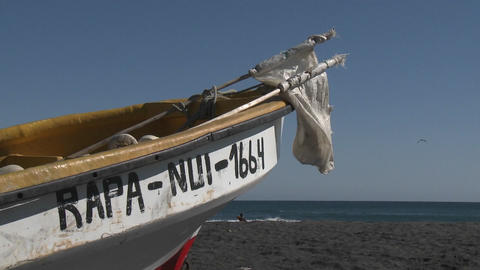 A fishing boat on the beach at Curanipe, Chile Stock Video Footage
