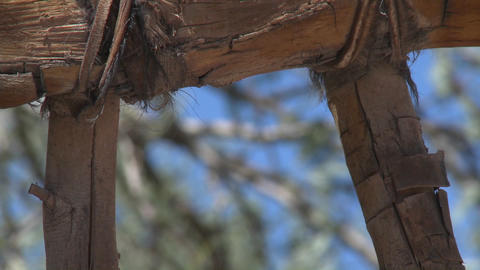 Close up of leather joinery on a wooden gate in San Pedro de Atacama, Chile Footage