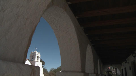 Vertical pan of the Iglesia San Pedro framed in the... Stock Video Footage