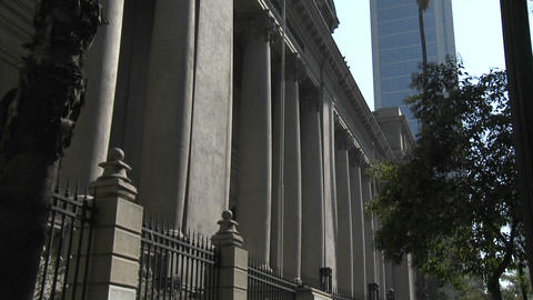 Vertical pan of the National Library, Santiago, Chile Stock Video Footage
